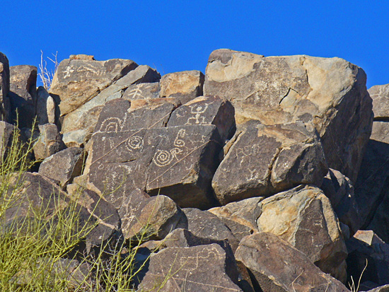 Petroglyphs left by the Hohokam people at Signal Hill